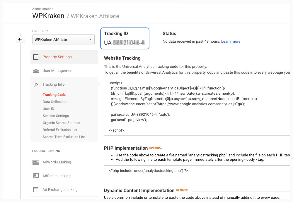 Google Analytics Get Tracking Code