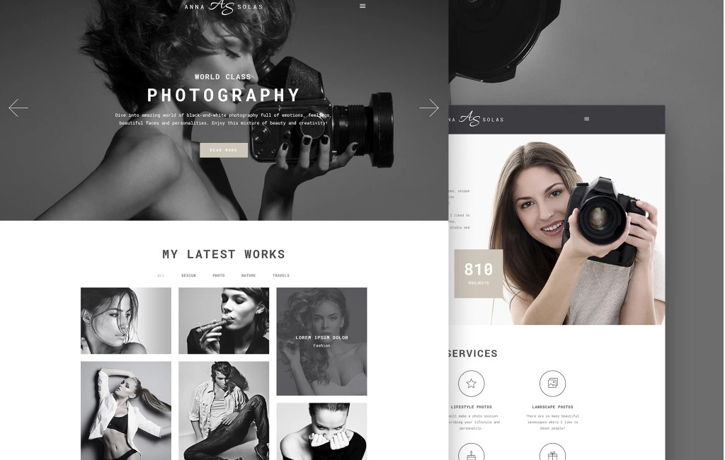 Anna Solas - Photographer Portfolio WordPress Theme