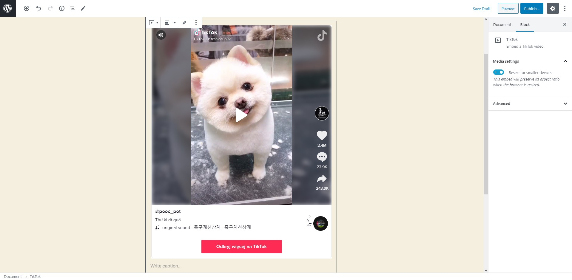 WordPress 5.4 will introduce an option to embed TikTok videos into your posts.